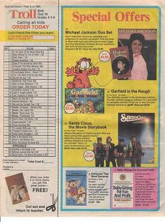 1980s 1990s Elementary School Book Club Flyers. Scholastic, Troll, Weekly Reader
