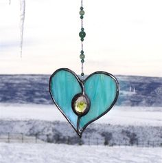 Seafoam Green Blue Stained Glass Heart Suncatcher by GreenhouseGlassworks