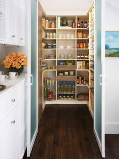 Fresh Awesome Kitchen Pantry Cabinet Plans Kitchen Pantry With Organized Shelving Unit This Walk In Pantry Boasts interior decorating options from ou. Kitchen Pantry Design, Kitchen Pantry Cabinets, Smart Kitchen, Kitchen Designs, Kitchen Ideas, Kitchen Carts, Stylish Kitchen, Kitchen Doors, Awesome Kitchen