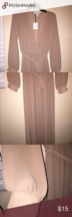 NEW! Beige Longsleeve Semi Sheer Maxi Dress OX This is semi Sheer and DOES NOT have a liner. Would need to be worn with a tank and a slip. Dresses Maxi