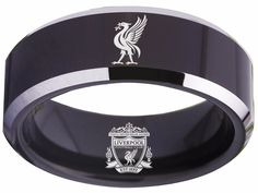 Liverpool Football Club Ring Black ring Tungsten Ring, sizes 4 - 17 available. Customize with a special name, date or message on the inside of the band. Liverpool Football Club, Liverpool Fc, Ring Sizes, Black Rings, Soccer, Band, House, Design, Football