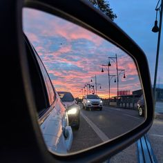 Evening clouds Evening clouds This image has get. Mirror Photography, Sunset Photography, Reflection Art, Pretty Sky, Night Aesthetic, Evening Sky, Photo Wall Collage, Pink Sky, Car Mirror