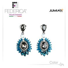 Earrings SARA 1  Pendant rhinestone and crystal earrings. Teal blue. 2,800.00 Ksh http://www.federicafashion.com/ep185/earrings-sara-1/ http://www.jumia.co.ke/federica-fashion/