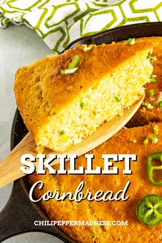 Homemade Skillet Cornbread is loaded with sweet corn, fiery jalapenos, and cheddar cheese! It's the perfect side dish!