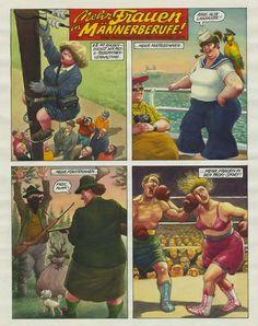 """Manfred Deix - Augenzwinkernd progressiv gab sich Deix in den 1980ern mit seiner Zeichnung: """"Mehr Frauen in Männerberufe! Eine Forderung von Man(Frau)fred Deix"""" (Landessammlungen Niederösterreich)."""