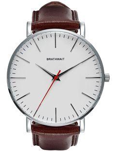 The classic slim steel wrist watch: Burgundy handmade Italian calf leather strap
