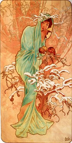 Stock Photography by Alphonse Mucha, an Art Nouveau painter and illustrator Art And Illustration, Mucha Art Nouveau, Alphonse Mucha Art, Vintage Posters, Vintage Art, Jugendstil Design, Kunst Poster, Inspiration Art, Fine Art