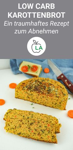 Saftiges Low Carb Karottenbrot – Brot ohne Kohlenhydrate This low carb bread recipe is quick, low in calories and simple. Try our delicious carrot bread without carbohydrates, which is also gluten-free thanks to the almond flour. Healthy Bread Recipes, Healthy Sweet Snacks, Keto Snacks, Clean Eating Recipes, Clean Eating Snacks, Low Carb Recipes, Breakfast Healthy, Simple Snacks, Quick Recipes
