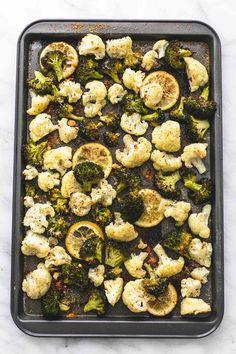 Roasted Lemon Garlic Broccoli & Cauliflower | lecremedelacrumb.com