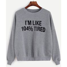 Grey Letter Print Drop Shoulder Sweatshirt ($16) ❤ liked on Polyvore featuring tops, hoodies, sweatshirts, grey, sweater pullover, cotton pullovers, gray pullover, long sleeve cotton tops and cotton pullover sweatshirt