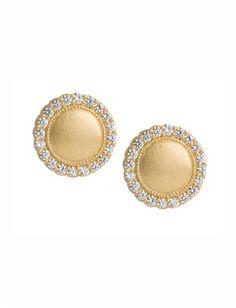 Jamie Wolf - 18k Small Diamond Scallop Stud Earrings - at - London Jewelers
