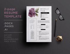 CV template / 1 page resume + cover letter ( elegant floral ...