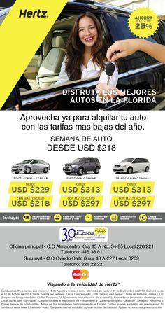 ¡Llegaron las tarifas más bajas del año! Semana de auto desde USD 218