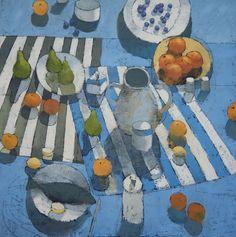Mediterranean Lunch 48x48 Oil on Canvas