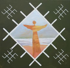 Traditional Latvian folk symbols with an angel on green. Acrylic on canvas, 40x40cm.