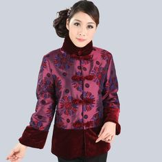 Shining Fuchsia Taffeta Floral Print Traditional Chinese Wadded Jacket for Mother - iDreamMart.com