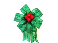 Red Christmas berry gift bow Red & green gift by JDsBowCreations