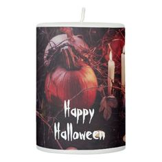 Rustic Halloween Pumpkin and Candles - rustic style country natural diy customize personalize
