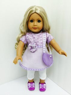 Caroline is wearing a Spring ensemble that is as fresh as a breath of lavender! Chloe's Closet, Doll Clothes, Lavender, Fresh, Dolls, Sewing, How To Wear, Baby, Dressmaking