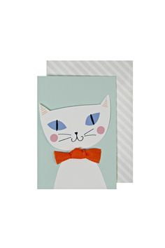 This gift enclosure is the cat's whiskers! Featuring a purring puss wearing a sumptuous orange bow. The enclosure comes with a co-ordinating stripe pattern envelope.    Enclosure size: 2 x 3 inches.   Cat Gift Card by Meri Meri. Home & Gifts - Gifts - Stationery & Office California
