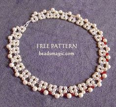 Free pattern for beaded necklace Red Accent U need: seed beads 11/0 pearls 4 mm