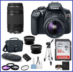Canon  EOS Rebel T6 DSLR Camera with 18-55mm  75-300mm Lenses PRO BUNDLE