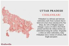 Fabric Tour Of India: Discover Unique Textiles From Every State Of India Types Of Embroidery, Indian Embroidery, White Embroidery, Indian Fabric, Indian Textiles, Indian Crafts, Indian Art, Indian Culture And Tradition, Fashion Terminology