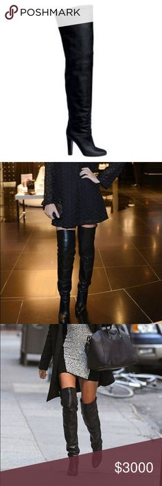 Hermès 2012/2013 Thigh High Leather boot Hermès 2012/2013 Thigh High Leather boot (leather inside and out), sz 8.5, worn once. Absolutely gorgeous boots just sitting in my friends closet 🤕, they are too high for her and too small for me 🙁... she is moving to Asia on a long duty assignment and won't wear them and doesn't want to store them away. Miranda Kerr and Courtney Kardashian have these identical boots; purchased for $4000. Hermes Shoes Over the Knee Boots
