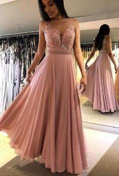 2020 V-Neck Beaded Prom Dress,Prom Dresses,Prom Dress Pink prom dress with bling Sparkly Prom Dresses, Beaded Prom Dress, Dress Prom, Beaded Lace, Dress Long, Party Dresses, Dresses Dresses, Formal Evening Dresses, Evening Gowns