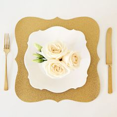 Gold Glitter Baroque Paper Placemats | by Tableau Party I Wedding, Shower & Party Decor, Place Setting, Charger Alternative