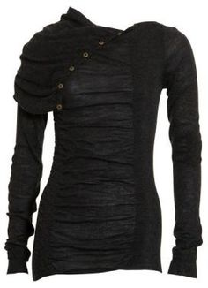 Black sheer buttoned top