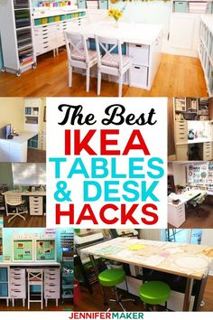 The Best IKEA Craft Room Tables and Desk Hacks and Ideas Linnmon Kallax Expedit Alex and Craft Room Tables, Ikea Craft Room, Craft Desk, Craft Room Storage, Craftroom Storage Ideas, Craft Room Organizing, Small Craft Rooms, Sewing Room Organization, Diy Storage