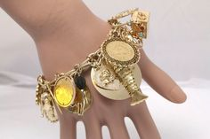 Decadent 14k Yellow Gold Charm Bracelets w/ Gemstones and Diamond, Coins
