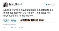 The best memes, tweets and jokes about Donald Trump's presidential inauguration and the beginning of his presidency.: Most Costly Inauguration