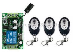 New DC12V 1CH 1Channe RF wireless remote control switch System, 3X Transmitter + 1 X Receiver,315/433 MHZ window/Garage Doors #Affiliate