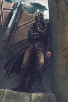 "Corvo Attano, ""Dishonored"". One of my elderly colleagues noticed me working on this picture, watched the screen for some time and suddenly asked if it's my boyfriend.   ..."