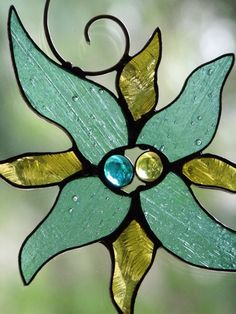 Summer Dreams Stained Glass Sun Catcher Turquoise and Amber