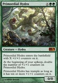 Primordial Hydra Primordial Hydra enters the battlefield with X 1 counters on it. At the beginning of your upkeep, double the number of 1 counters on Primordial Hydra. Primordial Hydra has trample as long as it has ten or more 1 counters on it. Mtg Hydra, Champs, Magic The Gathering Karten, Mtg Decks, Mtg Altered Art, Mtg Art, Green Monsters, Magic Cards, Wizards Of The Coast