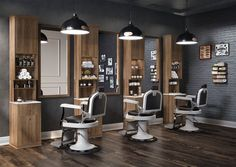 Barber Cahir with white and wood decor accents on floor and stations.