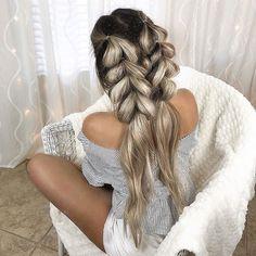52 Trendy Chic Braided Hairstyle Ideas You Should Try - Double pull through braid,big braids , braid hairstyle ,hairstyle ideas #hairstyle #hairstyles