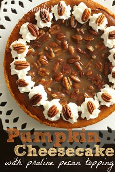 Pumpkin Cheesecake with Praline Pecan Topping from FavFamilyRecipes.com Pumpkin Cheesecake, Pumpkin Dessert, Cheesecake Recipes, Dessert Recipes, Pie Recipes, Holiday Desserts, Holiday Recipes, Family Recipes, Holiday Baking
