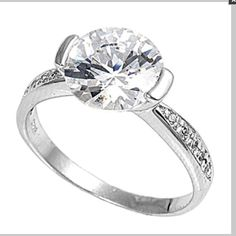 CZ engagement ring .925 Sterling Silver Clear Round Cut Engagement CZ Ring. Price Firm Jewelry Rings