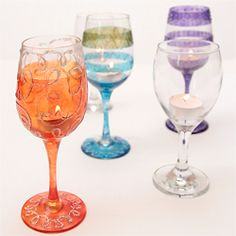 Wine glass tea light holders.....great anytime and so fun to make