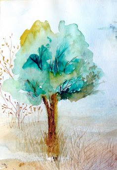 I love how this tree watercolor looks so simple to do... and its mood. More from the same artist here: http://oobos.blogspot.com/2007/09/watercolor-tree-sketches.html /  Hermosa acuarela de árbol azul. en el link anterior hay más arboles.
