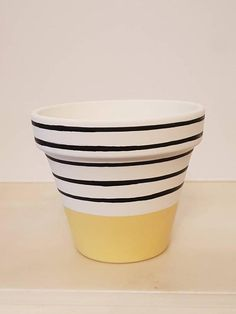 Hand Painted Flower Pot - Yellow with Strippes Design - - - Saucer Available Bring some colours to your home and happiness to your flowers! Hand painted yellow plant pot with black strippes, makes a very good home for your favou Painted Plant Pots, Painted Flower Pots, Yellow Plants, Flower Pot Design, Decorated Flower Pots, Flower Pot Crafts, Succulent Pots, Clay Pots, Plant Decor