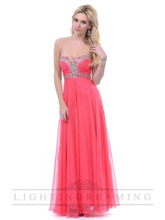 Coral Strapless Sweeetheart Beaded Empire Waist Long Prom Dress