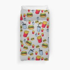 'fast food, fries burger and cola' Duvet Cover by rockingarts Wall Peper, Bedroom Bed, Hamburger, Classic T Shirts, Duvet Covers, Fries, Photoshop, Trends, Stickers