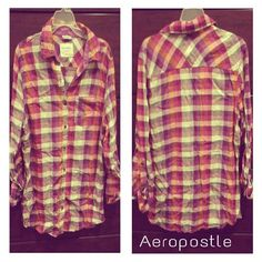 Juniors plaid button down top Button down / front pocket /roll up sleeves /boyfriend style Aeropostale Tops Button Down Shirts