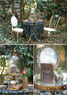 fairytale wedding decor ideas / http://www.deerpearlflowers.com/woodland-wedding-table-decor-ideas/2/
