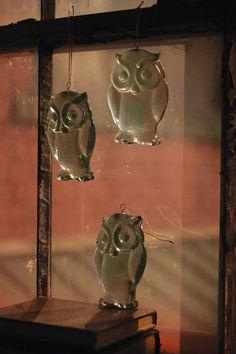 recycled hanging glass owl | owl suncatcher | glass owl ornament